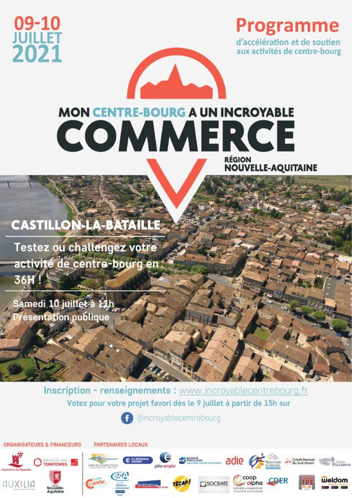 Affiche mon centre bourg a un incroyable commerce castillon la bataille MCBAIC juillet 2021