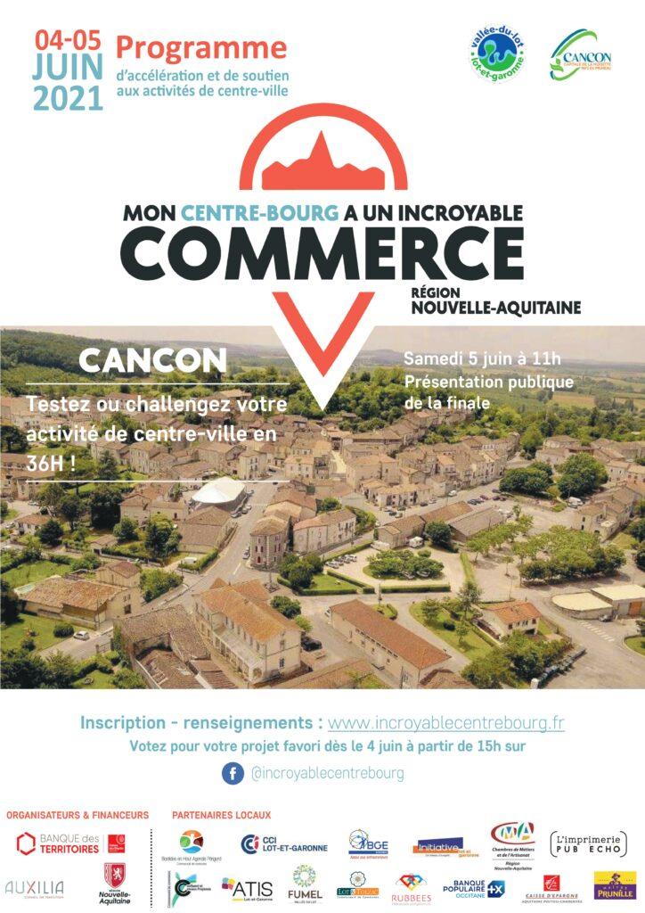 affiche Mon centre bourg a un incroyable commerce SMAVLOT Cancon Auxilia